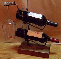 Porta Vino Para 2 Botella y Una Copa